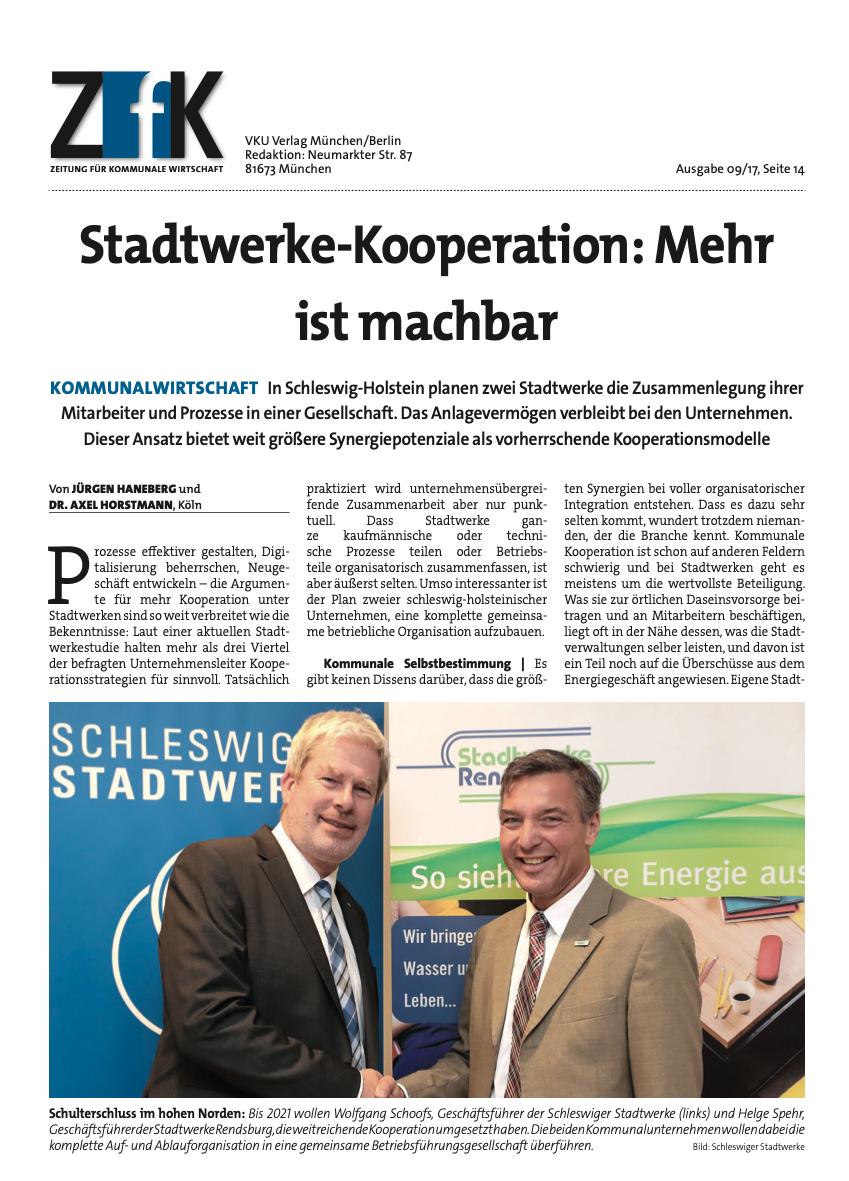 ZfK-Artikel zur Kooperation der Schleswiger Stadtwerke mit den Stadtwerken Rendsburg
